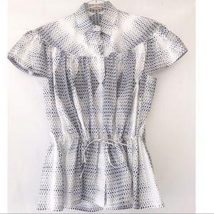 Alaia Paris Print Poplin Drawstring Waist Shirt